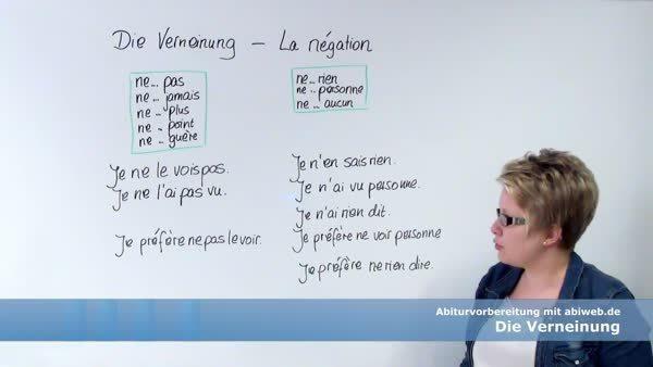 Die Verneinung La Négation Abitur Vorbereitung