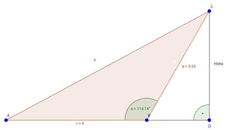 Nicht-rechtwinkliges Dreieck: Winkelfunktionen berechnen
